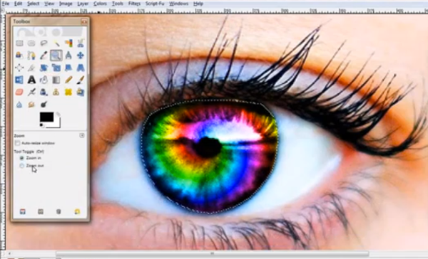 An eye with a rainbow iris