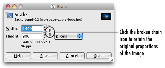 the scale dialogue box