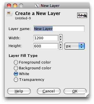 the new layer creation dialogue