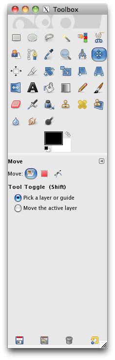 selecting the move tool in the toolbar
