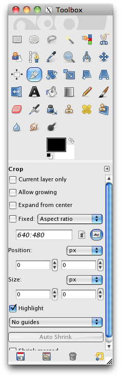 the gimpshop toolbar with the crop tool selected