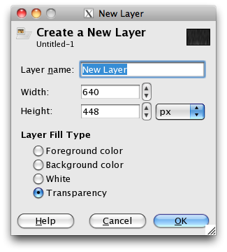 the new layer dialogue with the default settings selected