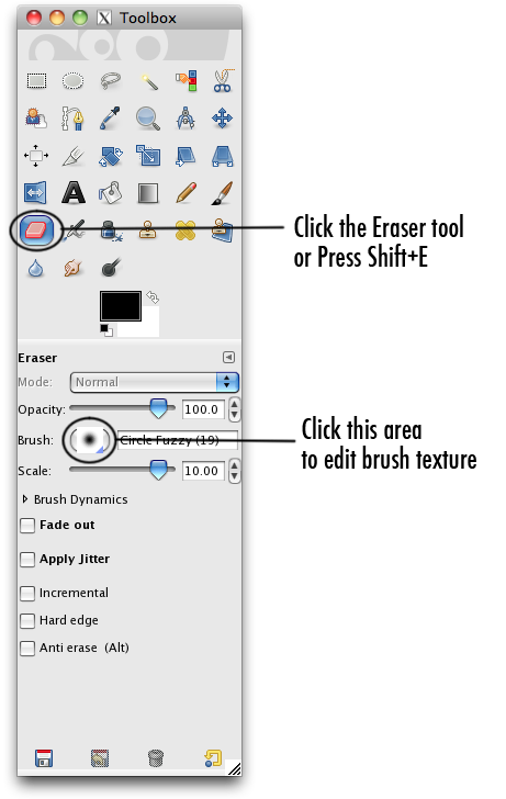 the gimpshop toolbar with the eraser selected
