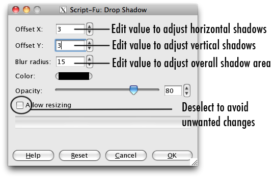 the drop shadow dialogue