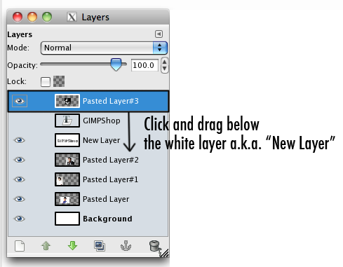 the layer menu with the new image's layer highlighted