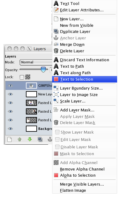the layers menu with create a new selection from text highlighted