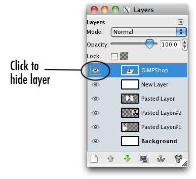 the layers menu with the hide layer icon selected